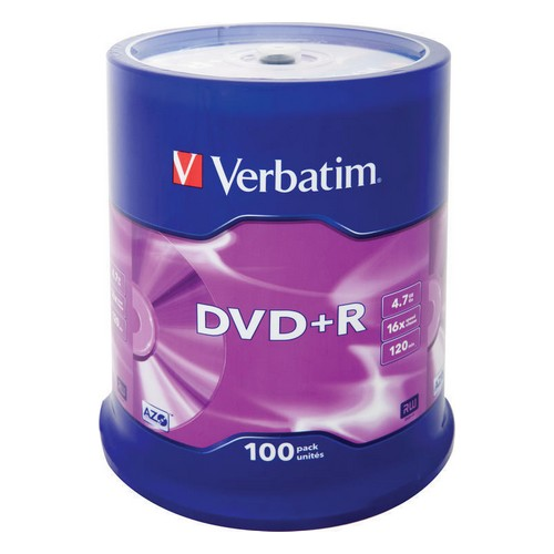 DVD-диск Verbatim DVD+R 4.7ГБ 16x 100шт на шпинделе 43551