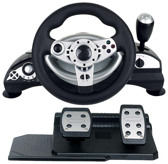 Dialog GW-14VR - для ПК, PS2; USB; кнопок 12; педали - газ, тормоз; коробка передач есть, 3-х скоростная
