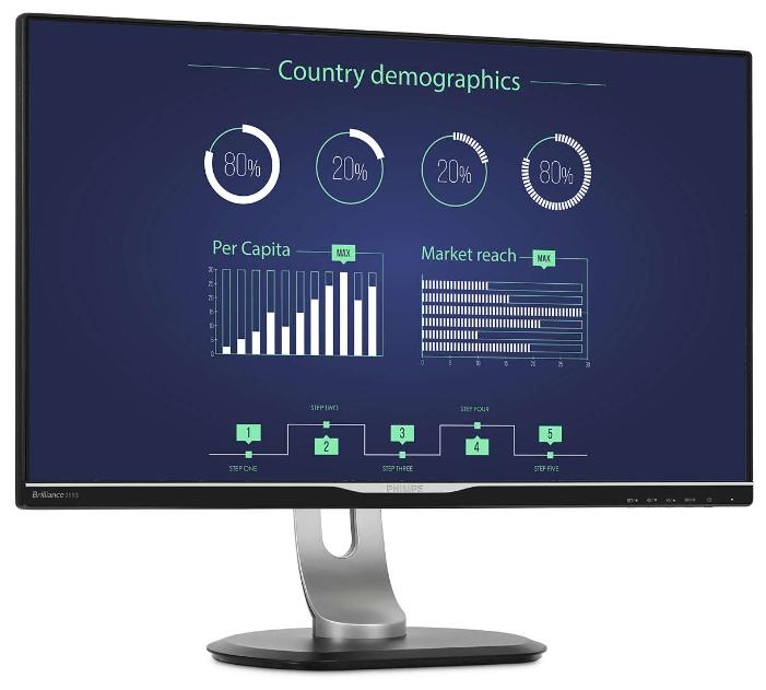 "Philips 258B6QUEB silver/black - (25"", WLED, 2560x1440 (16:9), 350 кд/м2, 1000:1, 20000000:1, 5 мс, 16.7 млн. цветов, стереоколонки (2x2 Вт), DVI-D (HDCP), HDMI, DisplayPort, VGA (D-Sub), аудио стерео)"