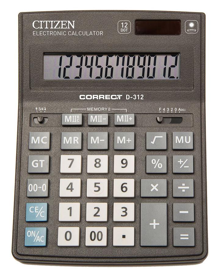 Калькулятор Citizen Correct D-312 чёрный