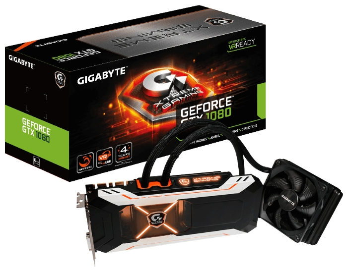 Видеокарта GigabyteGeForce GTX 1080 1784Mhz PCI-E 3.0 8192Mb 10400Mhz 256 bit GV-N1080XTREME W-8GD