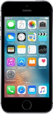 Apple iPhone SE 64GB Space Grey - (; GSM 900/1800/1900, 3G, 4G LTE, VoLTE; SIM-карт 1 (nano SIM); Apple A9; ROM 64 Гб; 12 млн пикс., встроенная вспышка; есть, 1.2 млн пикс.; датчики - освещенности, приближения, гироскоп, компас, считывание отпечатка пальца)