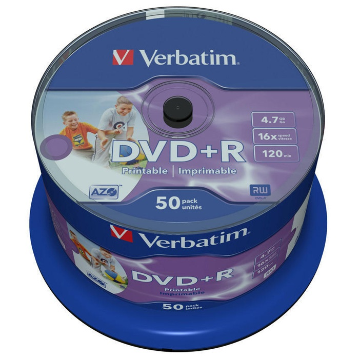 DVD-диск Verbatim 4.7 Gb, Printable, Cake Box 43512