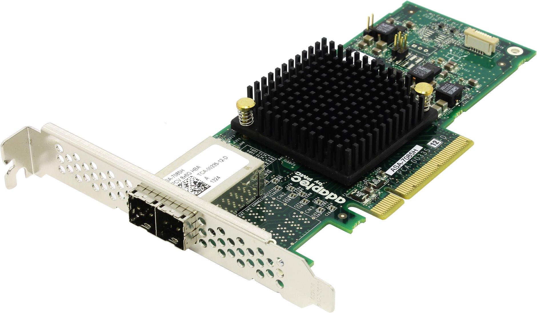 Adaptec ASA-7085H (2278400-R) - (SAS / SATA -контроллер; PCI-Express 8x rev.3.0 (обратно совместим с rev.2.x и 1.х); внутри 2x Mini-SAS HD (SFF8644) • Подкл. устр-ва: 8 с прямым подключением или до 128 с помощью SAS-экспандеров)