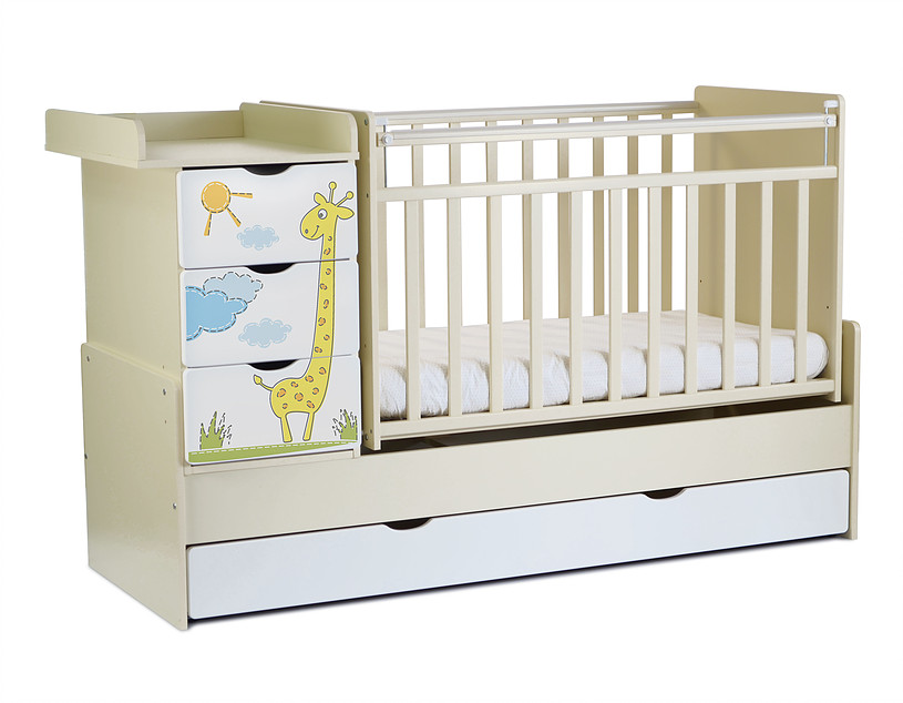 Кровать-трансформер СКВ-Компани Жираф 52003х фотопечать, beige+white
