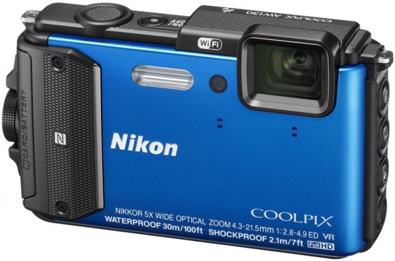 Nikon Coolpix AW130, blue - (16.76 млн, оптический zoom: 5x, 1920x1080, 7 кадр./сек, 921000 точек, 3 дюйма)