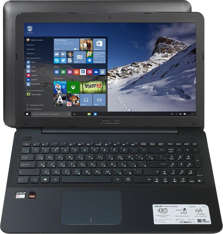 ASUS X555YA-XO010T, Black - (E1 7010 1500 МГц. Экран 15.6 дюймов, 1366x768, широкоформатный. ОЗУ 4 Гб DDR3L 1600 МГц. Накопители HDD 500 Гб; DVD-RW, внутренний. GPU AMD Radeon R2. ОС)
