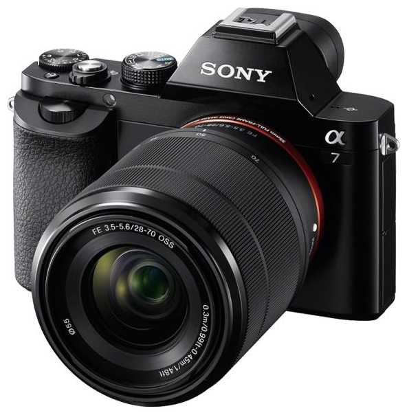 Sony Alpha A7 Kit (SEL-2870), black - (24.7 млн, 1920x1080, 5 кадр./сек, ЖК-экран: поворотный, 921600 точек, 3 дюйма)