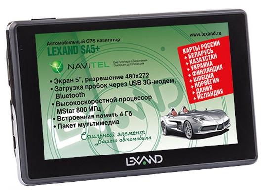 LEXAND SA5+ - (экран 5 дюйм., LCD-цветной, 480x272 пикс., сенсорный - есть; загрузка карт - есть; ПО - Навител • USB, Bluetooth, Micro SD)