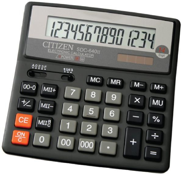 Калькулятор Citizen SDC-640 II чёрный SDC-640II
