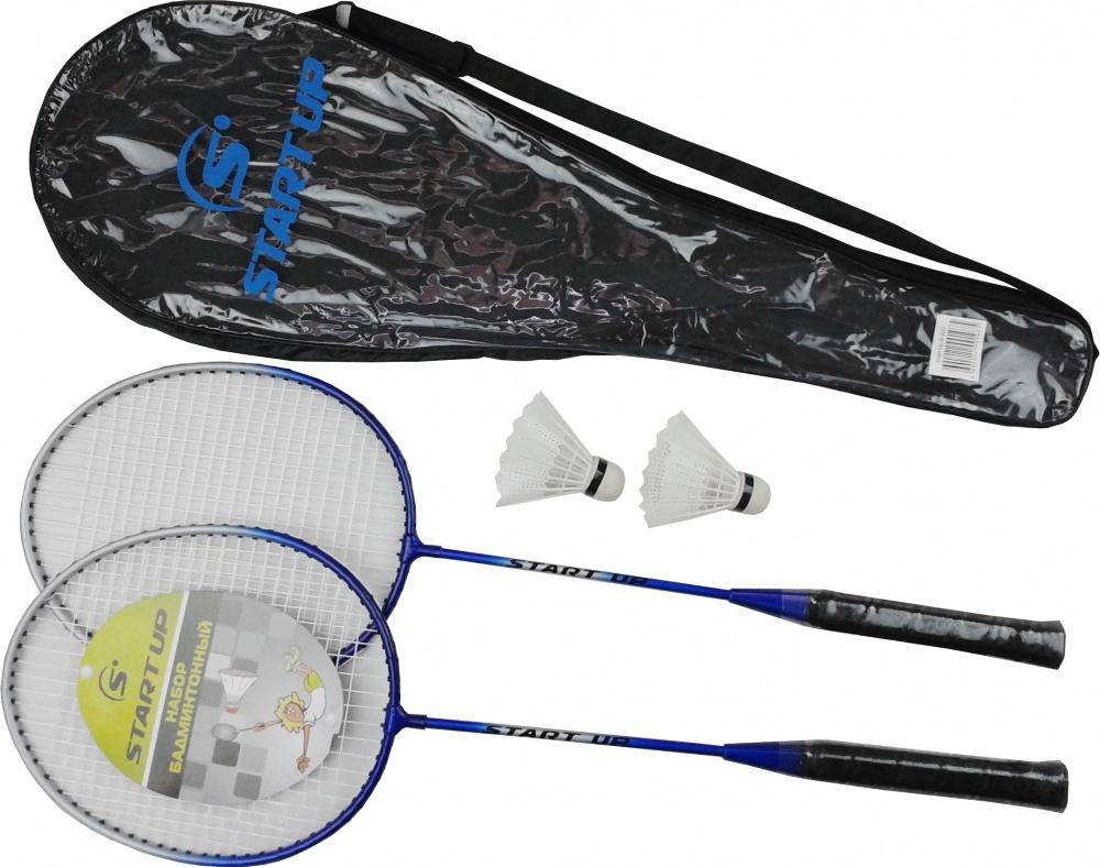 Набор бадминтонный Start Up R-220 (2 ракетки, 2 волана, чехол), серебро/син