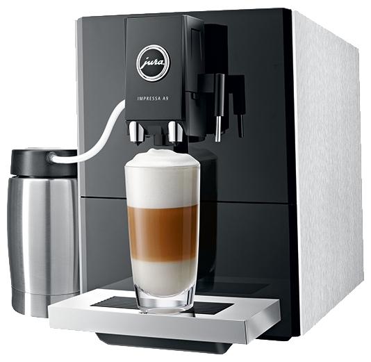 Jura Impressa A9 Platin - эспрессо; кофе - молотый / зерновой; нагреватель - термоблок; резервуар 1.1 л; макс.давление 15 бар; групп