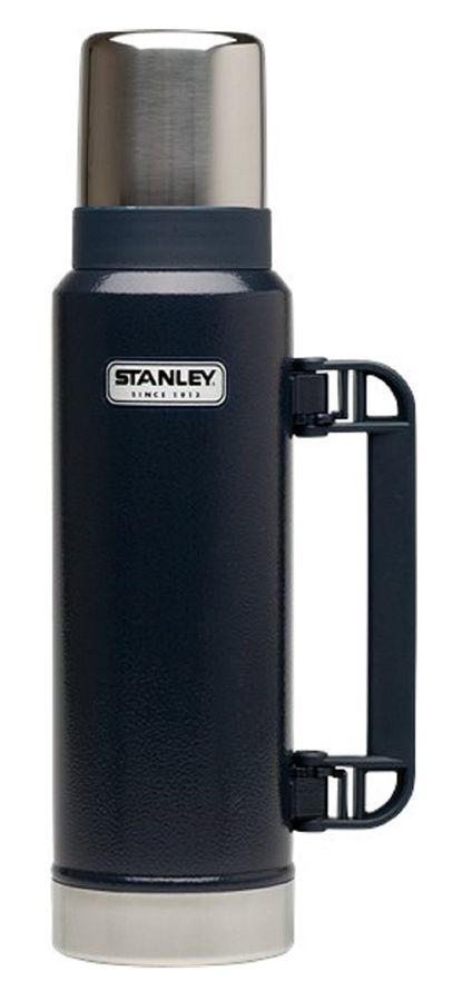 Stanley Classic Vac Bottle Hertiage (10-01032-043) dark blue - (термос; 1.3 л; нержавеющая сталь, пластик; Колба - нержавеющая сталь; Крышка термостакан 325 мл. • Сохранение тепла - складная ручка)