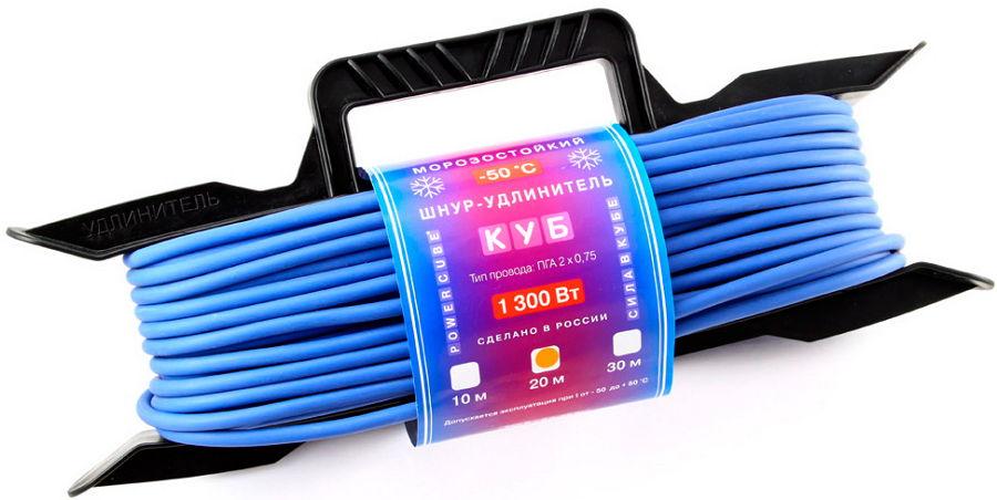 PowerCube PC-E1-F-10-R (10 метров) - розеток 1; провод 10 м; 1300 Вт; 6 А; Вилка CEE 7/17 • Шнур-удлинитель на рамке