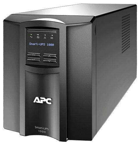 APC Smart-UPS 1000VA - интерактивный; 1000 ВА / 670 Вт; в среднем 20.6 мин; вход 160 - 286 В; розеток 8 (из них с питанием от батарей