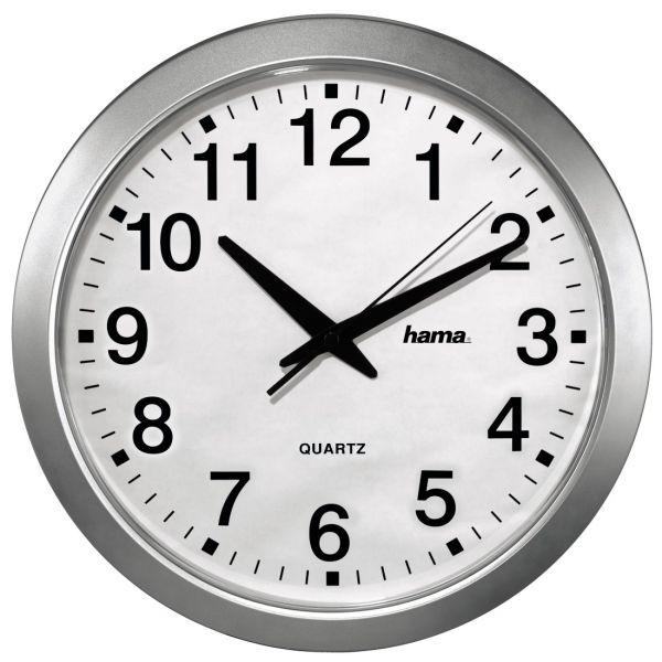 Часы настенные Hama CWA100 H-92645, white-silver