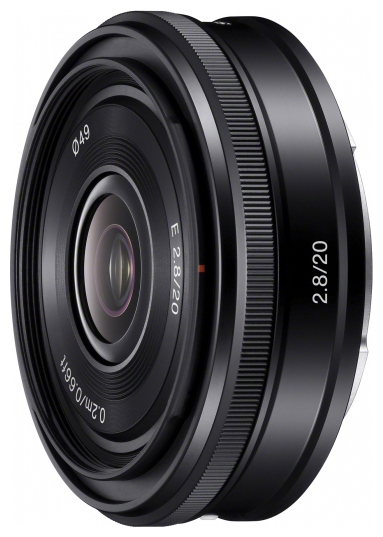 Sony 20mm f/2.8 (SEL-20F28) - широкоугольный; ФР 20 мм; F2.80 • Автофокус нет. • Неполнокадровый да SEL20F28.AE