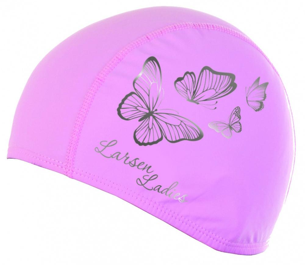 Шапочка плавательная Larsen 3059 Butterfly, эластан, роз