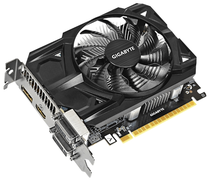 Gigabyte PCI-E R7 360 2048Mb (GV-R736OC-2GD) - (AMD Radeon R7 360, 28 нм, 1200 МГц, 2048 Мб GDDR5@6500 МГц 128 бит, TDP 100 Вт • Разъёмы: DVI x2, поддержка HDCP, HDMI, DisplayPort.)