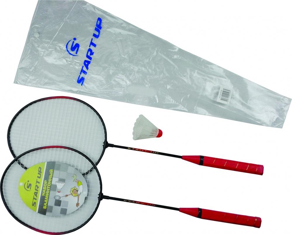 Набор бадминтонный Start Up R-206 (2 ракетки, волан, чехол), черн/кр