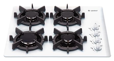 Гефест 2230 К11 - (независимая, газовая варочная поверхность, панель управления сбоку, переключатели поворотные, газ-контроль есть, электроподжиг есть, автоматический • всего конфорок 4, газовых 4, экспресс-конфорок 1, панель - закаленное стекло •)