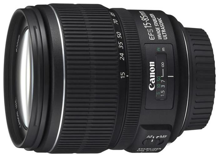 Canon EF-S 15-85mm f/3.5-5.6 IS USM - (стандартный Zoom; ФР 15 - 85 мм; ZOOM 5.7x; F3.50 - F5.60 • Автофокус есть. • Неполнокадровый да)