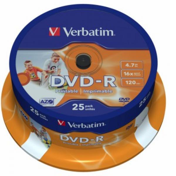 DVD-диск Verbatim DVD-R 4,7 Gb, Cake Box 43538