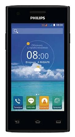 Philips S309 4Gb Black - (Android 4.4; GSM 900/1800/1900, 3G; SIM-карт 2; 1000 МГц; RAM 1 Гб; ROM 4 Гб; 1600 мАч; 5 млн пикс., 2592x1944, светодиодная вспышка; есть, 0.3 млн пикс.)