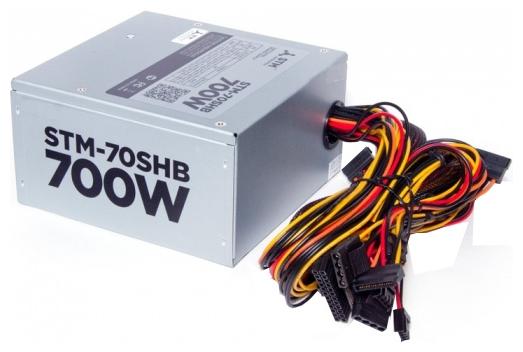 STM STM-70SHB 700W - 700 Вт, 1 вентилятор (140 мм), PFC активный, линия +12В(1) - 20 A, линия +12В(2) - 19 A • Molex: 2 / SATA: 4