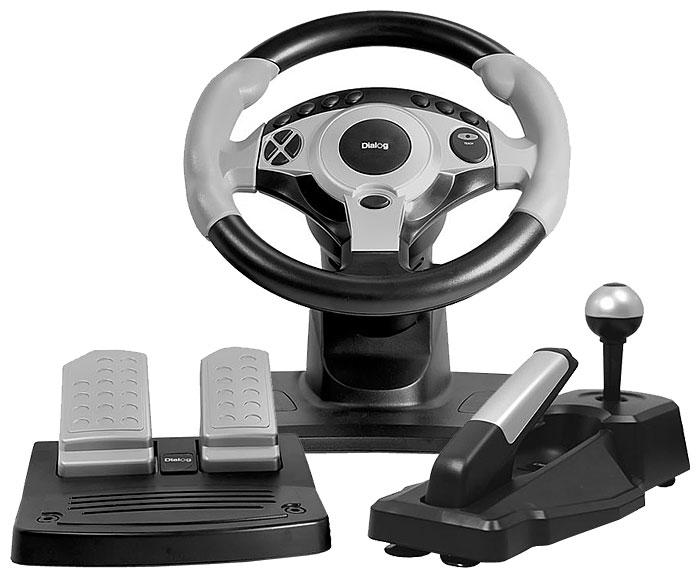 Dialog GW-300 - для ПК; руль 26 см; USB; кнопок 12; педали - газ, тормоз; коробка передач есть