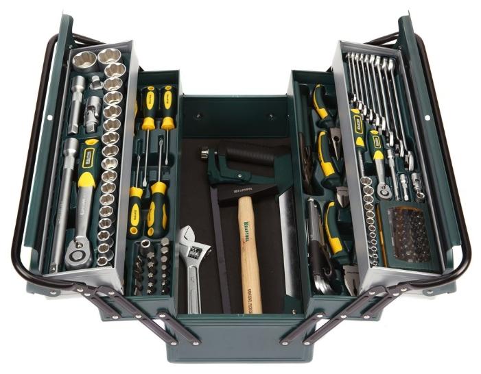 Kraftool 27978-H131, 131 предмет - Универсальный; предметов 131 шт • Гаечные ключи: 8-22 мм • Головки: 4-32 мм. Трещётка есть. Кардан