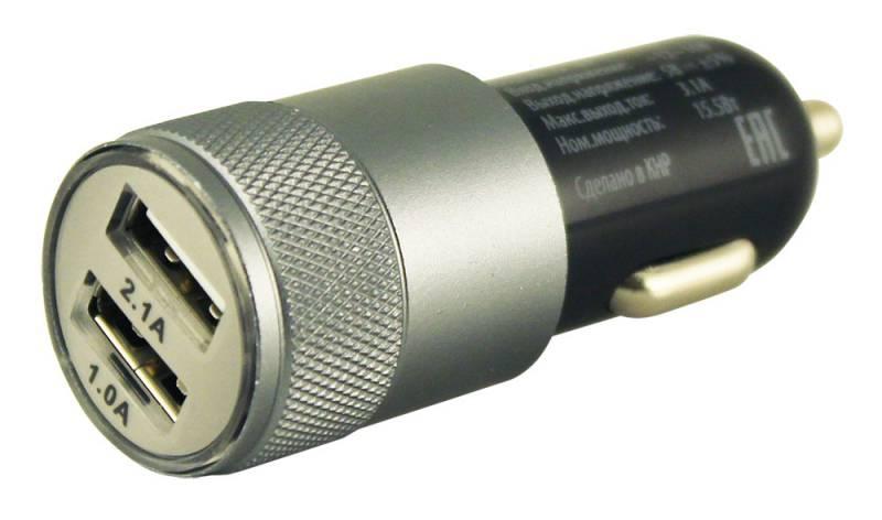 Зарядное устройство автомобильное,Buro 2.1A+1A универсальное (TJ-189),black