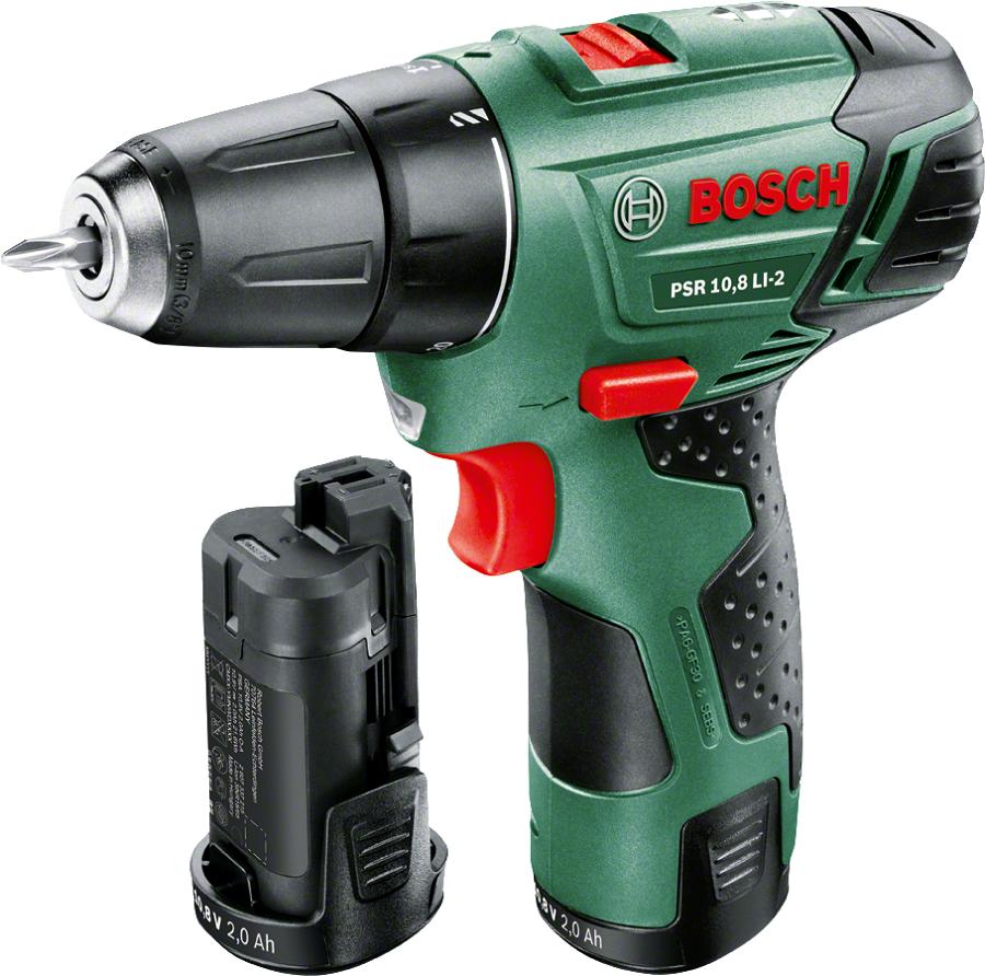 Bosch PSR 1080 LI, 2.0Ah x2 + Case - (безударная дрель-шуруповерт; патрон быстрозажимной, D= 10 мм; скоростей 1; 700 об/мин; питание от аккумулятора • Диам.сверления - дерево 20 мм - металл 6 мм)