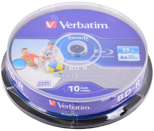 BD-диск Verbatim BD-R 25 Gb, Cake Box 43804