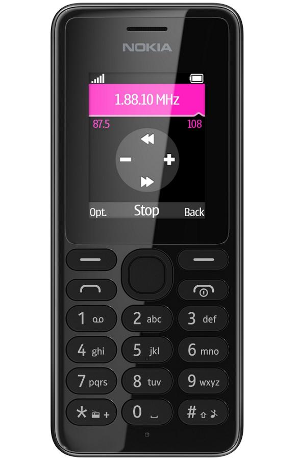Nokia 108 Dual sim, Black - (1.8 дюйм., 128x160, microSD (TransFlash), объемом до 32 Гб, кол-во SIM-карт: 2, фотокамера: 0.30 млн пикс.)