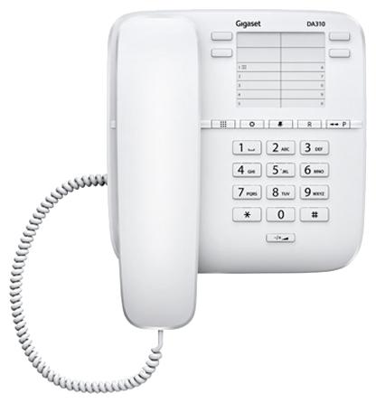 Gigaset DA310, White - дисплей нет, 14 номеров, , переадресация: нет S30054-S6528-S302