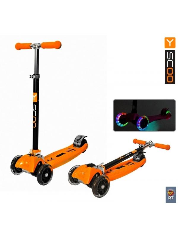 Y-Scoo Maxi City Rt Shine Gagarin (светящиеся колёса) orange