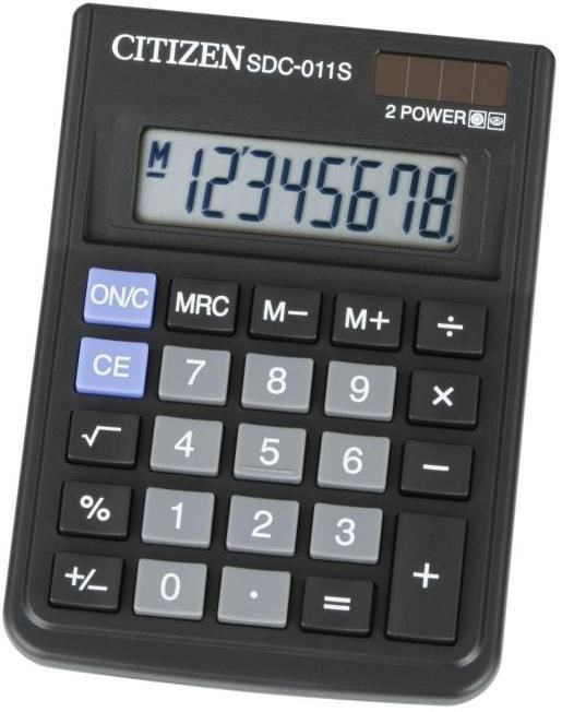 Калькулятор Citizen SDC-011S 8-разрядный Чёрный