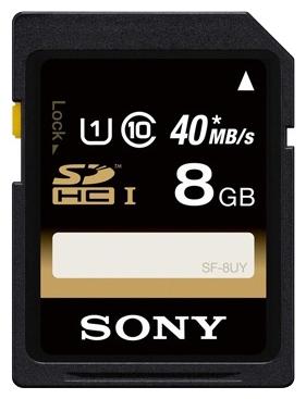 Sony SF-8UY 8Gb - (8 Гб; Secure Digital HC; Class 10; чтение 40 Мб/с)
