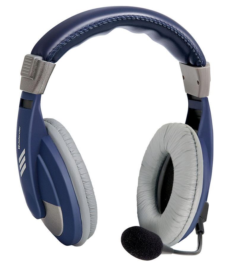 Defender Gryphon HN-750, Blue - (Наушники: 18 - 20000 Гц; 32 Ом; накладные; закрытого типа; 40 мм. • Микрофон: есть; 20 - 16000 Гц; 2200 Ом. • Подключение: 2 м; 2x mini jack 3.5 mm.)
