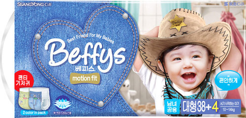 Подгузники-трусики Beffy's motion fit д/детей L 10-14кг/42шт 9034