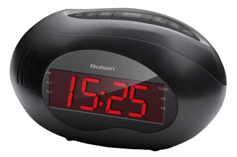 Rolsen CR-190, black - радиоприёмник, часы, будильник; FM, УКВ, СВ; пресеты - 40 1-RLDB-CR-190