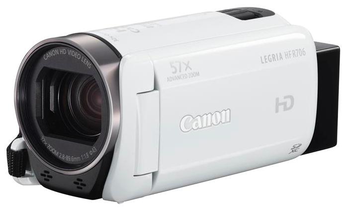 """Canon LEGRIA HF R706 white - (ЖК-экран: есть (3"""", 230000 пикс.). Сенсорный дисплей: есть. Общее число пикселей: 3.28 Мпикс. Макс. разрешение фотосъемки: 1920x1080 пикс)"""