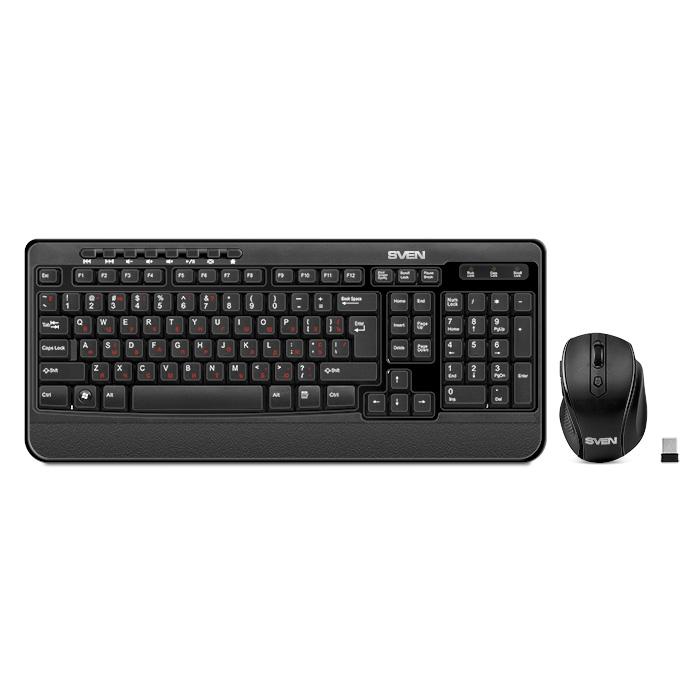 Sven Comfort 3500 Wireless Black - (Клавиатура: USB; соединение беспроводное; мембранные с тактильной обратной связью; клавиш 112 • Мышь: USB USB; оптическая беспроводная; кнопок 5; 800, 1200, 1600 dpi)