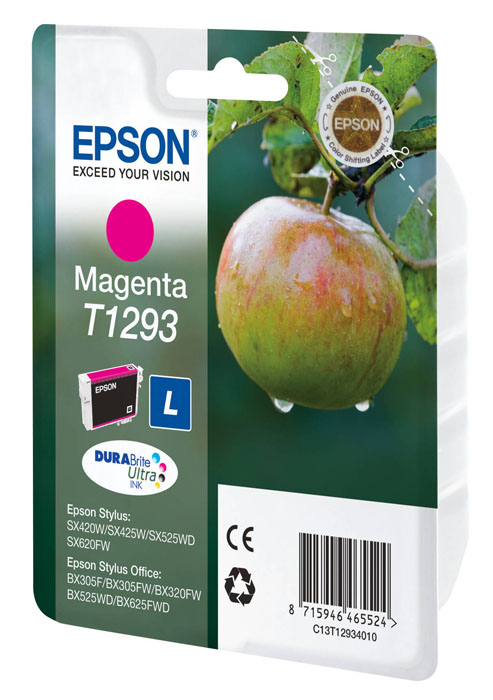 Epson Т1293 Magenta - Пурпурный; на 370 страниц • Epson Stylus SX420W, Epson Stylus SX425W, Epson Stylus SX525WD, Epson Stylus SX620FW,