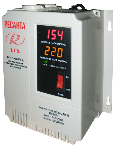 Ресанта АСН-1000Н/1-Ц Lux - релейный; 1 кВт; Вход 140-260 В; однофазное; Выход 202-238 В; КПД 97% 63/6/14