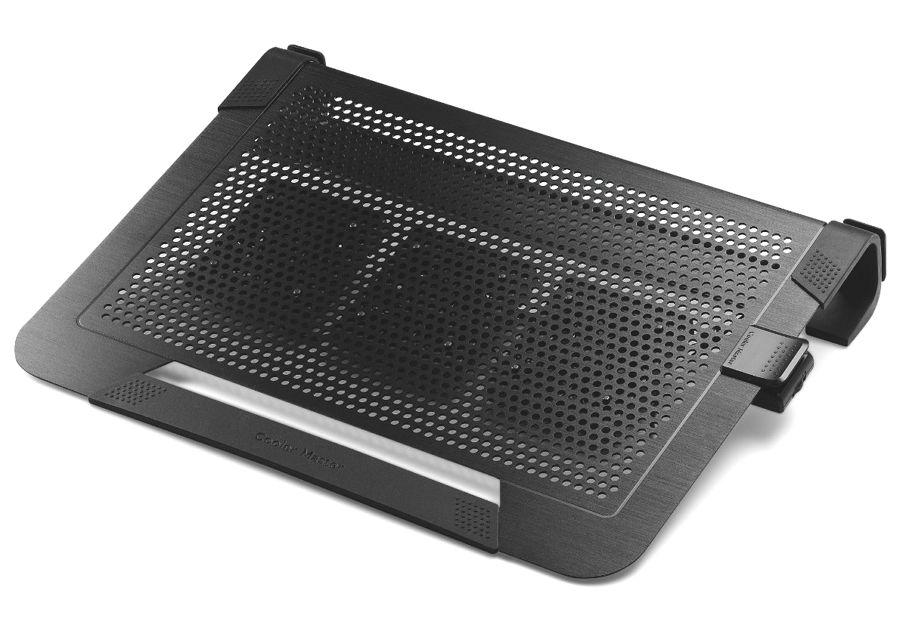 Cooler Master NotePal U3 Plus, Black - (435 x 333 x 76 мм; охлаждение - активное (3 вентилятора); питание - USB-порт; USB-хаб - нет, есть сквозной USB-коннектор • наклон - есть небольшой, неизменяемый)