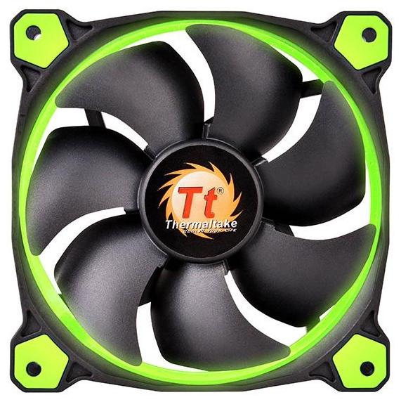 Thermaltake Riing 14 LED Green - 140x140x25 мм; вентиляторов 1; 1000 - 1400 об/мин; 3-pin; 22.1 - 28.1 дБ; подсветка - зеленый; 51
