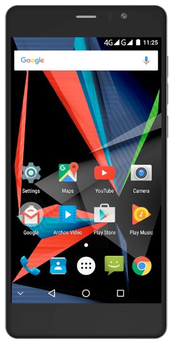 Archos 55 Diamond Selfie, black - (; GSM 900/1800/1900, 3G, 4G LTE, LTE-A Cat. 4; SIM-карт 2; Qualcomm Snapdragon 430 MSM8937, 1400 МГц; RAM 4 Гб; ROM 64 Гб; 16 млн пикс., светодиодная вспышка; есть, 8 млн пикс.; датчики - освещенности, приближения, гироскоп, считывание отпечатка пальца)