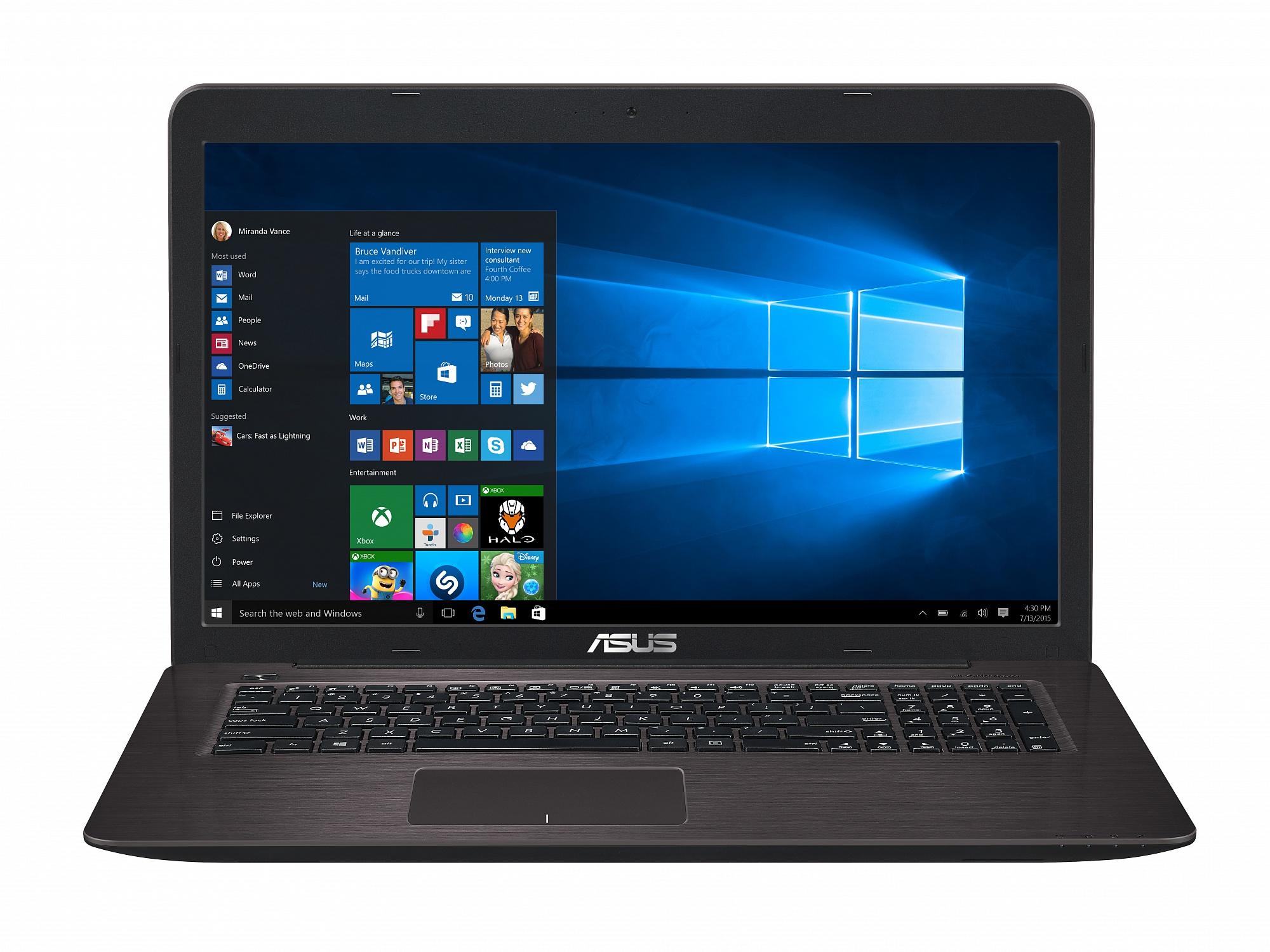 ASUS X756UV (90NB0C71-M00420) - (Intel Core i3 6100U 2300 МГц. Экран 17.3 дюймов, 1600x900, широкоформатный. ОЗУ 4 Гб DDR4 2133 МГц. Накопители HDD 1000 Гб; DVD-RW, внутренний. GPU NVIDIA GeForce 920MX. ОС Win 10 Home)